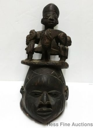 Antique African Ceremonial Fertility Rite Ritual Handcrafted Wood Carving Mask photo