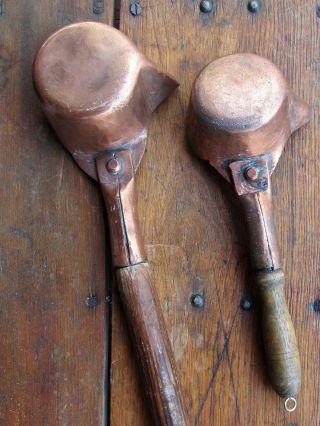 2 Primitive 1800s Antique Hand Hammered Copper Ladles W/ Spouts S 3 & 4 photo