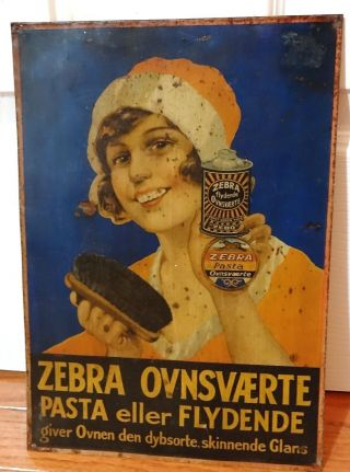 Antique Danish Zebra Stove Polish Advertising Tin Sign 1905 - 1915 12