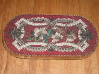 Antique Mahogany English Victorian Tea Tray Hand Beaded Trivet photo