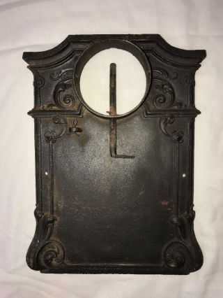 Antique Vtg Cast Iron Wood Stove Door Lid Top Chimney Flue Ornate Rustic Decor photo