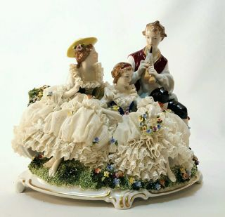Unterweissbach Porcelain Dresden Lace Figural Group German Pastoral Trio Bagpipe photo