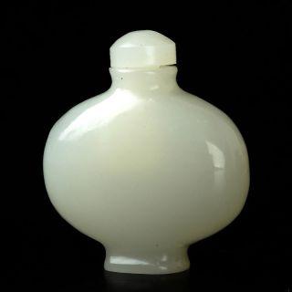 Chinese Hetian Jade Hand - Painted White Snuff Bottle photo