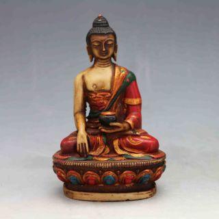 Vintage Antique Gudiao Hand - Carved Tibetan Buddhist Statues - Bhaiṣajyagu X0234 photo
