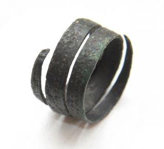 Ancient Viking Bronze Ornament Spiral Ring (mar) photo