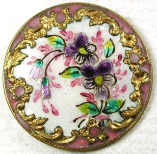 Antique Enamel Button Colorful Violet Flowers W/ Pink Champleve Border 1 & 3/16