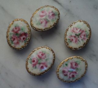 5 Antique Hand Painted Pink Flower Gold Trim Porcelain Shank Stud Buttons photo