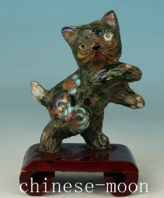 Lovely Chinese Old Cloisonne Handmade Carved Cat Statue Figure Ornament photo