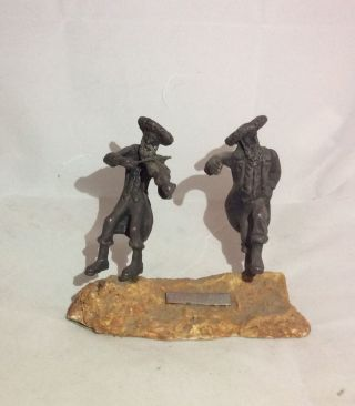 Israel Artist Isaac Jeheskel Sterling Sculpture Fiddler & Dancer.  925 Stone Base photo