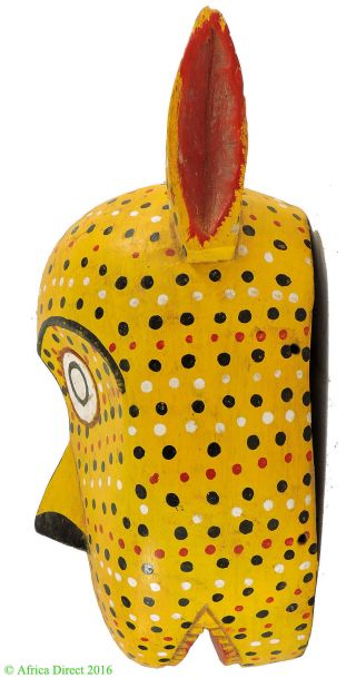 Bozo Mask Yellow Spotted With Ears Mali African Art photo