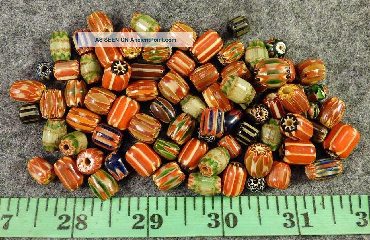 10 Hudson S Bay Company Mixed Chevron Indian Trade Beads Glass 1700s