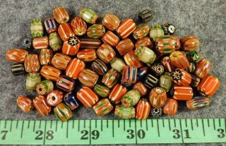 10 Hudson ' S Bay Company Mixed Chevron Indian Trade Beads Glass 1700s photo