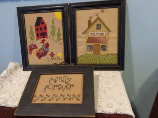 3 Repro Primitive Country Signs Family Forever Welcome Rooster Barn Quilt photo