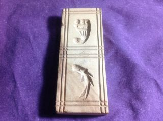 Vintage Carved Wood Butter Cookie Mold Press Stamp Primitive Fish Cornucopia photo