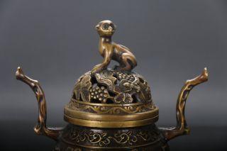 Handwork Brass Carving Flower Motif Incense Burners &monkey Lid Qianlong Mark photo