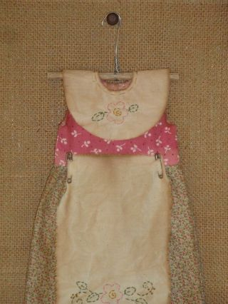 Primitive Doll Dress - Folkart - Handmade Stitchery - Home Decor - Grungy photo