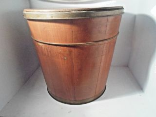 Antique Wooden Bucket & Lid Metal Bands Maple Syrup Sugar Storage photo