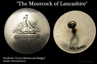 Antique Sterling Silver Livery Button Moorcock Motto Sun Bird English Hallmarked photo