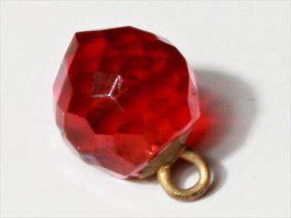 (1) 11mm Rare Victorian Czech Transparent Red Facet Glass Waistcoat Ball Button photo