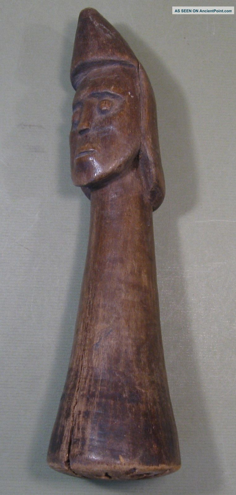 Old Carved Wooden Food Pounder,  Oceania (pacific Islands),  Figural Head Pacific Islands & Oceania photo