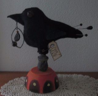 Primitive Wool Crow Bird Pedestal Charm Make Do Pin Cushion Pfatt Ehag photo