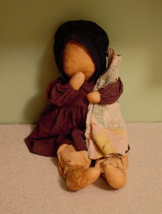 Primitive Country Folk Art Tea Stained Amish - Prairie Doll photo