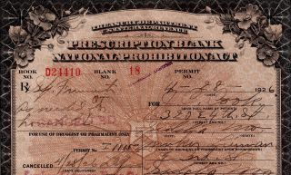 Antique Prohibition Whiskey Pharmacy Prescription 4/28 Doctor Missouri Cook Bar photo