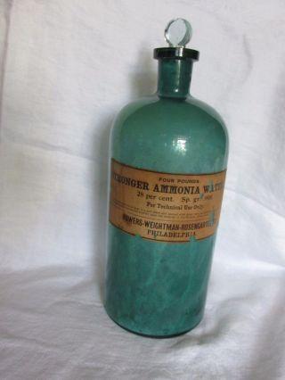 Stronger Ammonia Water Bottle Powers Weightman Pa Whitall Tatum 13 Green Rare photo