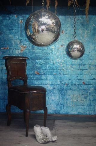 19th C Huge Mercury Witches Ball Antique Mirror Distortion Convex Scientific photo