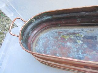 Vintage Copper Trough Tub Planter Plant Pot Ribbed French Garden Window Antique photo