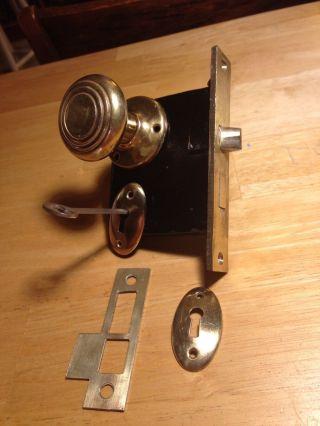 Antique Vintage Art Deco Door Mortise Lock Assembly,  Brass Doorknob Restored photo