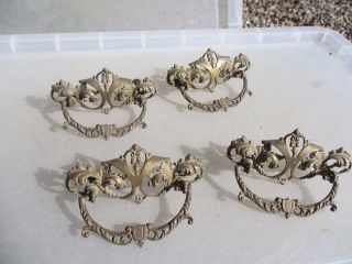 French Brass Drawer Handles Pulls Antique Hardware Rococo Baroque Gilt Old X4 photo
