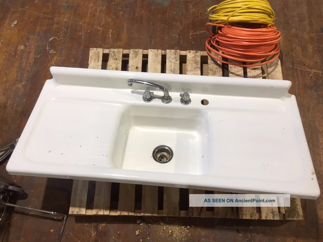 Vintage Double Drainboard Porcelain Cast Iron Farmhouse Sink Antique 54