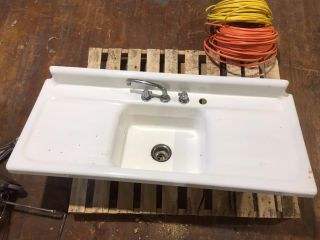 Vintage Double Drainboard Porcelain Cast Iron Farmhouse Sink Antique 54