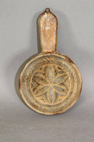 A Rare 18th C Pennsylvania Hex Carved Lollipop Style Butter Stamp Old Patina photo