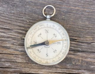 Antique Compass Fob Pendant By Pyramid Silver Beveled Glass Vtg photo