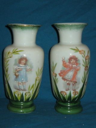 Pair Antique Victorian Hand Painted Enamel Bristol Opaline Glass Mantle Vases photo
