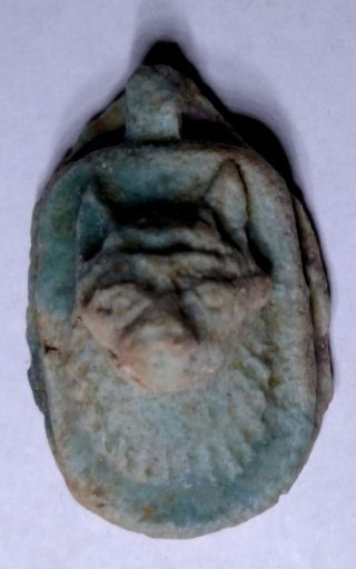 Egyptian Pharaoh Faience Amulet,  Anubis Proctor Of Tombs,  With A Hole For Chain photo