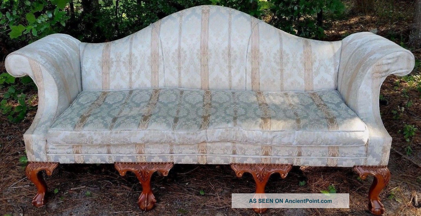 Antique Camelback Sofa Nyc Shop Tag Ornate Carved Ball Claw Feet Silk Upholstery 1900-1950 photo