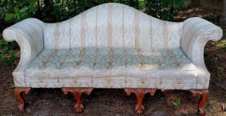 Antique Camelback Sofa Nyc Shop Tag Ornate Carved Ball Claw Feet Silk Upholstery photo