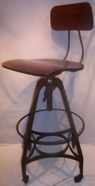 Antique Toledo Uhl Industrial Drafting Stool Chair.  99 Cents photo