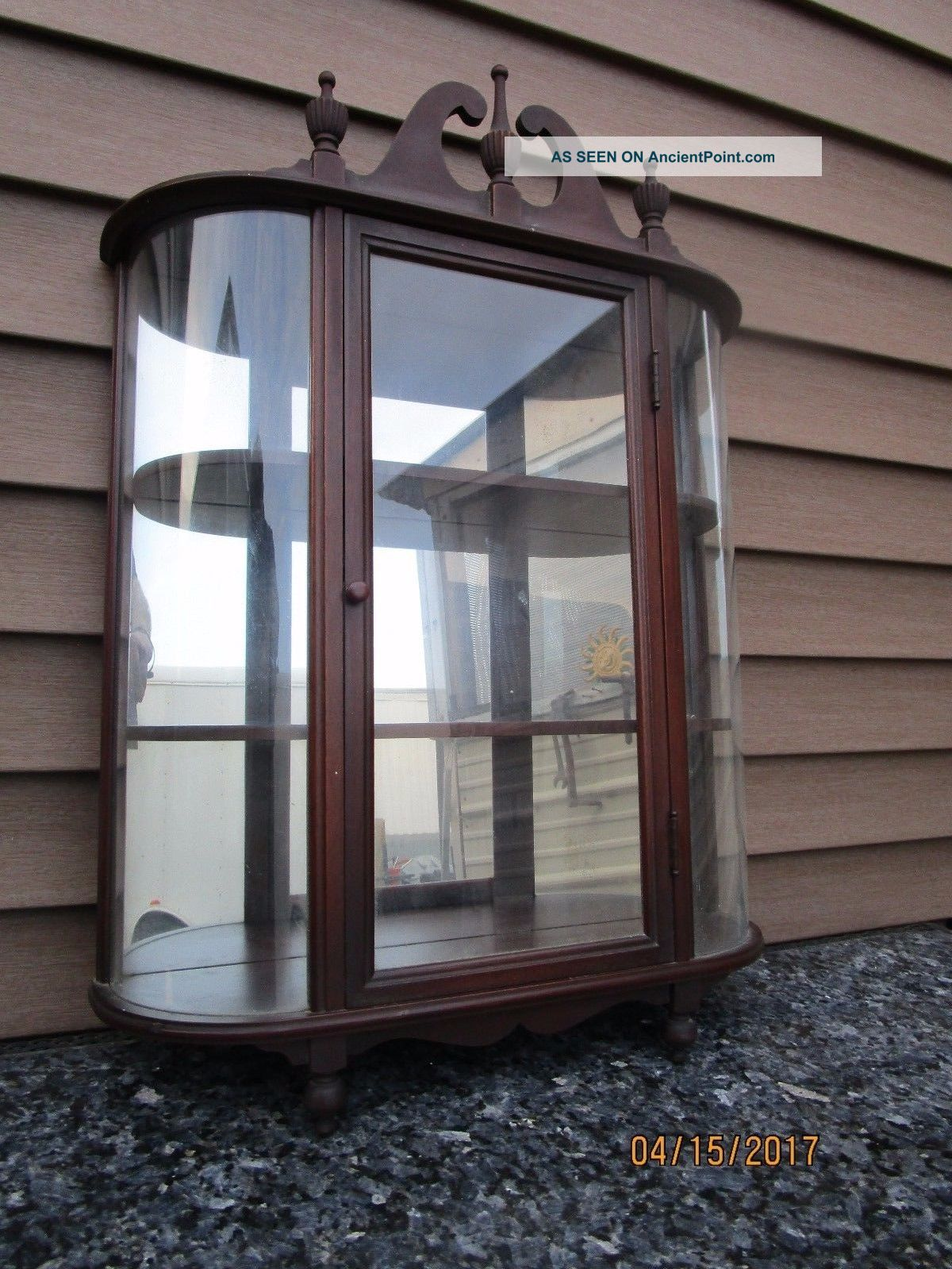 Antique Curio Display Wall Cabinet Display Case Curved