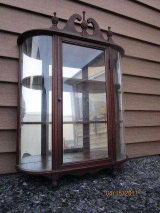 Antique Curio Display Wall Cabinet Display Case Curved Convex Glass 3 Tier Shelf photo