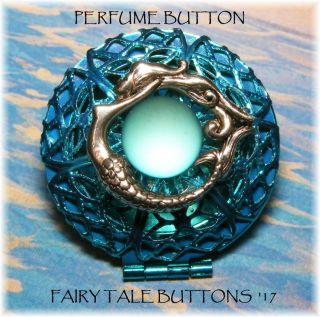Silver Mermaid Sea Teal Glass Modern Filigree Brass Perfume Locket Studio Button photo