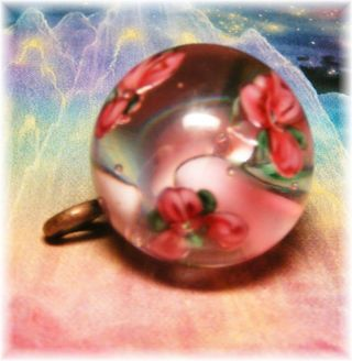 Vintage Floating Pink & Green Flowers Medium Glass Paperweight Button photo