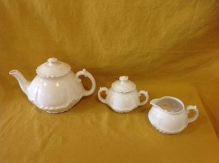 Vintage Porcelain White China Teapot Creamer Sugar.  Y photo