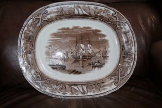 Brown And White Transfer Ware Platter Ashworth Brown Ships,  Water Rope,  Sailboat photo