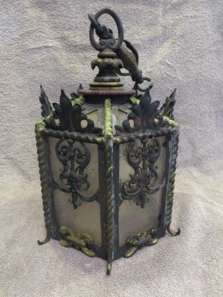 Antique Cast Iron Victorian Hanging Glass Panel Lamp photo