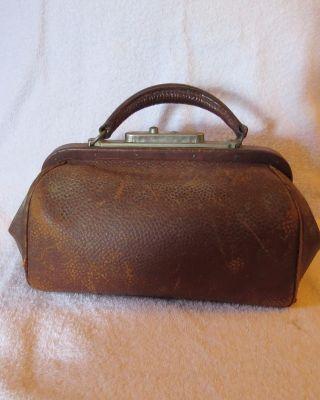 Vintage / Antique Brown Leather Doctors Bag Clasp,  Lock; 13