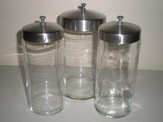 3 Vintage Kalon Medical Scientific Apothecary Specimen Jars W/ Ss Lids photo